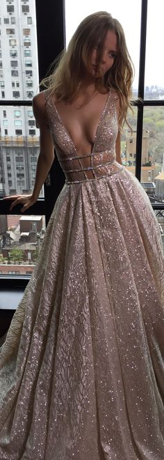 Rose gold and lots of sparkle - this @bertabridal gown is so feminine and romantic while still ultra sexy.