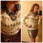 Idea-denim shirt under sweater with knee length skirt