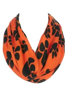Warm and Soft Double Layer Paw Print Infinity Scarf Pumpkin