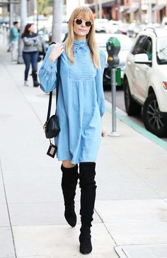 Jaime King in the coolest '70s-inspired denim dress and over-the-knee boots