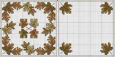 Cross-stitch Fall Leaves Biscornu Set... no color chart available, just use pattern chart as you color guide... or choose your own colors...     Картинка