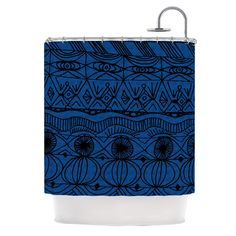 "Catherine Holcombe ""Black and Blue"" Pattern Shower Curtain 