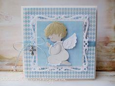 Gallery of handicrafts: Dla małego Aniołka First Communion, Baby Cards, Cute Cards, Handicraft, Christening, Children, Kids, Diy And Crafts, Babe