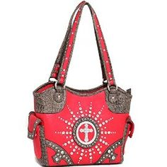 Red Western Style Cross Purse with Studs and Rhinstone