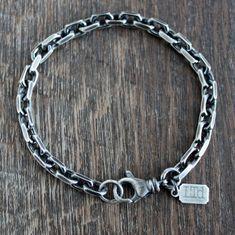 Men's Heavy Silver Chain Bracelet Silver Bracelets, Bracelets For Men, Fashion Bracelets, Silver Chain For Men, Chains For Men, Oxidized Sterling Silver, Sterling Silver Chains, Anchor Chain, Chain Links