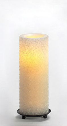 "Candle Impressions :: 8"" Iridescent Icicle Flameless Wax Pillar w/ Programmable Timer, White"