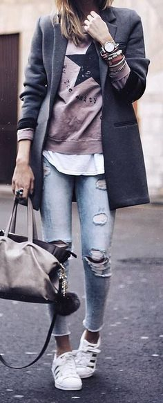 47 trendy sneakers winter outfit my style Moda Fashion, Trendy Fashion, Winter Fashion, Fashion Looks, Womens Fashion, Fashion Trends, Fashion News, Fashion Art, Couture Fashion