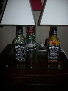 How to turn your old liquor bottles into desk lamps with cord hole instructions