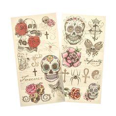 Edgy Skull and Rose Temporary Tattoos