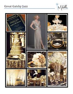 Our Great Gatsby Inspiration Board! Inspired by Jazz and the fabulous Gatsby Parties. Stay tuned for how our Gatsby inspired wedding turns out. Inspiration for Mobella Events. www.MobellaEvents.com