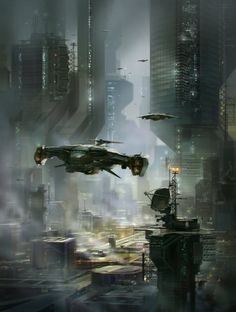 "boatsthatfly: ""Sci-fi city by alex-ichim "" From one science fiction lover to another…. Cyberpunk City, Futuristic City, Fantasy City, 3d Fantasy, Fantasy Landscape, Sci Fi Stadt, Rpg Star Wars, Sci Fi City, Arte Robot"