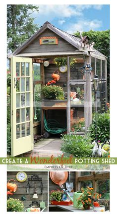 Have a spot in your backyard that is missing something, and thinking of adding a potting shed? Or maybe you have an old shed that's just not as useful as you'd like. Creating a potting shed gives you plenty of work space with the all your tools and suppl Outdoor Projects, Garden Projects, Garden Tools, Garden Sheds, Backyard Sheds, Greenhouse Shed, Greenhouse Gardening, Commercial Greenhouse, Potting Sheds