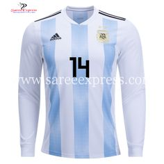 015ee5c0f Adidas Javier Mascherano Long Sleeve Argentina Home Jersey World Cup 2018 - Saree  Express