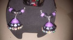 quilled black and purple jumka