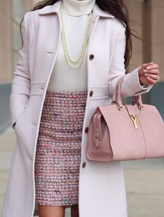 Pink Tweed skirt - Petite double-cloth lady day coat with Thinsulate -  pearls - YSL bag -  neutrals - details here: http://www.stylishpetite.com/2014/01/pink-tweed-and-neutrals.html