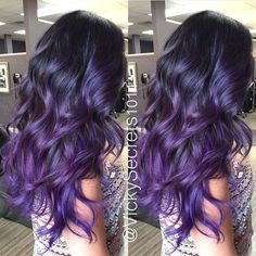 Weekly hair collection: 34 TOP hairstyles of the week! Weekly hair collection: 34 TOP hairstyles of Ombre Hair, Balayage Hair Purple, Ombre Blond, Hair Color Purple, Purple Ombre, Violet Hair Colors, Blonde Brunette, Color Black, Hight Light