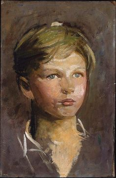 Abbot Thayer,oil sketch of a young boy