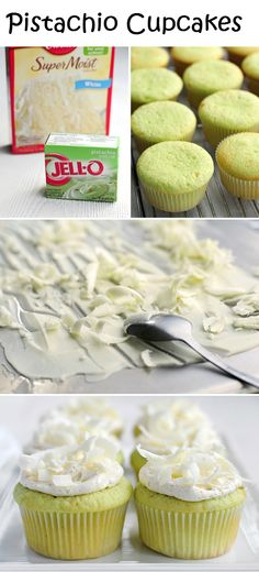 Pistachio Cupcakes. 1 box of white cake mix & all ingredients that it calls for1 box of pistachio pudding mix1 batch of Vanilla Buttercream Frosting