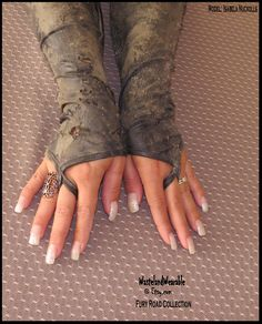 Post APOCALYPTIC Gloves Long Fingerless Gloves BLACK faux LEATHER Fingerless Apocalyptic Gloves hand distressed by WastelandWearable by WastelandWearable on Etsy