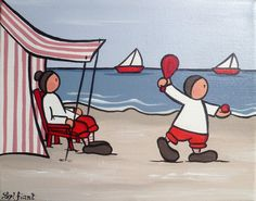 Mamie à la plage - 24x19 - 38€