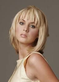 Image result for medium length haircuts for fine hair with bangs