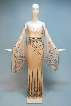 JEANNE LANVIN COUTURE EMBROIDERED CHIFFON EVENING GOWN and STOLE, c. 1990