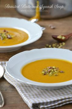 Roasted Butternut Squash Soup... Change the half and half to canned coconut milk and you have a yummy Paleo soup.