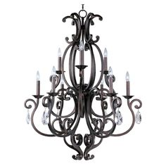 Maxim Lighting Crystal Chandelier with Natural / Beige Shade in Colonial Umber Finish | 31006CU | Destination Lighting