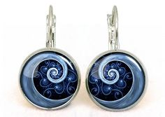 Blue Spiral Photo Earrings,Unique Photo Jewelry Gift Under 10