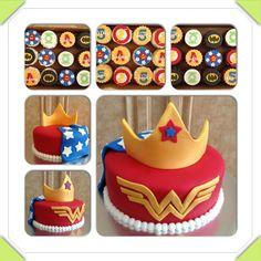 Wonder Woman cake and superhero cupcakes www.facebook.com/cakeitorleaveitcakesbymarianne