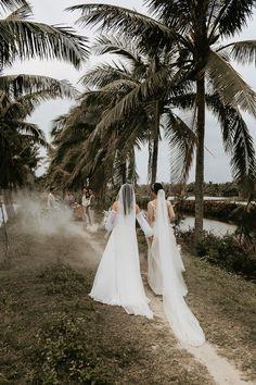 Both brides wore gorgeous long veils | Image by Thien Tong Photography Long Veils, Elopement Inspiration, Bridal Fashion, Wedding Blog, Brides, Tropical, Formal Dresses, Elegant, Beach