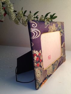Etsy の4x6 Picture Frame, Pine tree,Flowers Clowds on Purple base, 4 different type of pattern on 1 fabric, some little flowers(ショップ名:MariPhotoframesJapan)