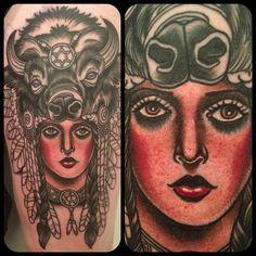 Native American woman tattoo