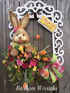 Easter Wreath Easter Door Hanging Spring Wreath by BaBamWreaths