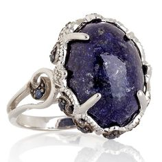 Opulent Opaques Lapis and Sapphire Sterling Silver Ring