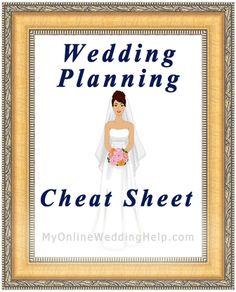 Wedding Planning Cheat Sheet | #myonlineweddinghelp