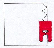 . Paininjalan sisäreuna seuraa kankaan reunaa (esim.siksak)
