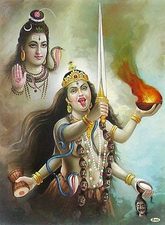 Goddess Kali and Lord Shiva.Hindus believe in manifestation of God in various creations and sub-creations and call them 'Devtas'.This gives rise to multiple system of prayer to deities. Mahakal Shiva, Shiva Art, Krishna, Kali Hindu, Hindu Art, Mother Goddess, Goddess Lakshmi, Mother Kali, Divine Mother