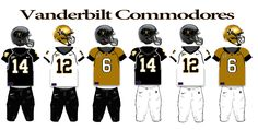 Vanderbilt Commodores Football Team uniforms