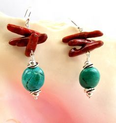 Turquoise & Sponge Coral Beaded Earrings by SweetFreedom on Etsy, $34.50 Coral Earrings, Beaded Earrings, Beaded Jewelry, Blue And Silver, Red And Blue, Southwest Jewelry, Coral Turquoise, Designer Earrings, Handmade Silver