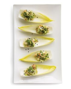 I've made these for last-minute family gatherings...super quick, easy, and they always get rave reviews! Shrimp and Avocado Salad on Endive Leaves - Whole Living Eat Well