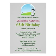 Golfer Golf Golfing 65th Birthday Invitation Invitations 65