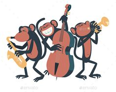 Three monkeys playing jazz. One of them plays the saxophone, the other one plays the contrabass and the third one plays the trumpe