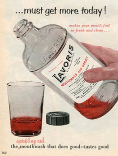 Lavoris 1955. Looks like an ad for scotch, not mouthwash.