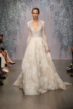 Monique Lhuillier's newest wedding dresses are incredibly beautiful - click for the pics, including this long-sleeve lace gown