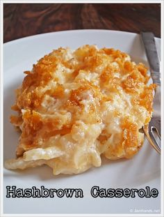 Cheesy Hashbrown Casserole with Corn Flake Topping at www.JamHands.net