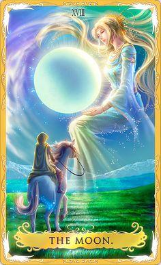 """Espiritualidade, imaginação. Ela simboliza a moongoddess quanto donzela, mãe e anciã (desde o nascimento até a morte e renascimento). A Lua indica que há algo que é importante para você, um caminho espiritual. Aproveite o tempo para sonhar com o que você quer. Mas cuidado, A Lua é também o cartão de ilusões. Ela pode fazer você acreditar que o seu novo """"eu"""" pode ser criado em poucos minutos e fazer você se sentir decepcionado quando se leva tempo e esforço para chegar ao seu novo destino."""