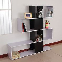 Storage bookcase 4 shelves #wooden #bookshelf s shape #display unit home furnitur, View more on the LINK: http://www.zeppy.io/product/gb/2/351546990501/
