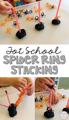 Use dollar store spider rings for fine motor practice with this stacking activity. Perfect for tot school, preschool or kindergarten.