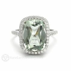 Cushion Cut Green Amethyst Engagement Ring Diamond Halo – Rare Earth Jewelry
